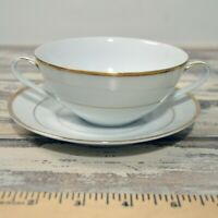 Noritake Japan China Dawn White Gold Trim two Handle Cup and Saucer #5930