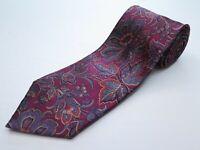 Brioni dis.03106 Silk Dark Purple Gray Red Floral Necktie Hand Made in Italy EUC