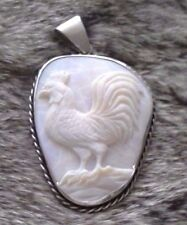 Beautiful Carved White Opal and Silver Cameo Rooster
