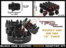 "Complete Kit - 4Pc Toyota 1.5"" Black Hub Centric Wheel Spacers 6x5.5"" Or 6x139.7"