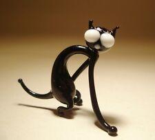 "Blown Glass ""Murano"" Figurine Animal Small Skinny Black CAT"