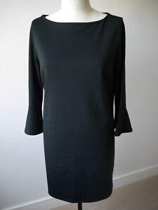 GAP Women Petite Black Long Bell Cuff Sleeve Knee Length Shift Dress L