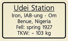 Meteorite label Udei Station