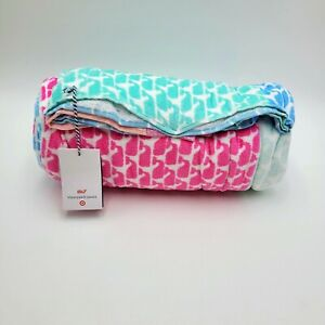 NWT Vineyard Vines Target Beach Towel 2 Patchwork Whale 72x72 Pink/Blue/Lt Green