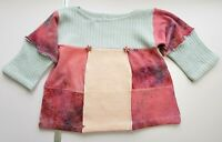 100% PURE CASHMERE GIRLS JUMPER TUNIC DRESS 4-5 Years PINK BLUE PATCHWORK  #04