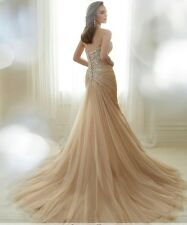 New Champagne Mermaid Wedding Dresses Sweetheart Pleated Lace Up Bride Dresses