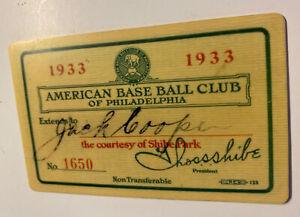 1933 Philadelphia athletics season pass celluloid w/schedule on back