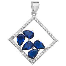 Collares y colgantes de joyería con gemas de plata de ley zafiro zafiro