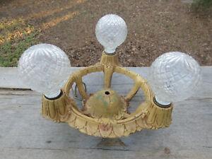 """Antique Art Deco Art Nouveau Cast Iron Flush Mount Ceiling Light Fixture 10"""""""