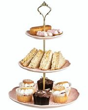 3 livello Vintage Rosa Floreale in ceramica Cake Stand Cupcake Matrimonio Tè PIASTRA A4