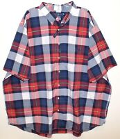 Polo Ralph Lauren Big & Tall Mens Red Blue Plaid S/S Button-Front Shirt NWT 3XLT