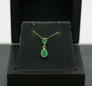 9ct Yellow Gold 0.75ct Emerald Drop Necklace 18 Inches