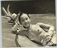 1955 John Everard Asian Dayak Sarawak Canoe Nude Female Breasts Photo Gravure