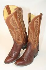 Tony Lama Mens Size 8 D Leather Lizard Pull On USA Made Cowboy Boots 8540