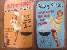 BBQ Pinup Girl TIN SIGN set 2 Retro Vintage Bar-B-Q decor funny metal posters