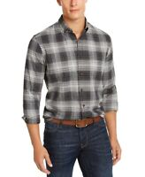 Club Room Mens Shirt Gray Size Medium M Vassar Plaid LS Button Down $55 #129