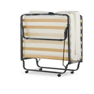 "Linon Luxor Folding Rollaway Cot-Sized Bed with 4.5"" Memory Foam Mattress"