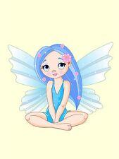 PRINT POSTER NURSERY FAIRY BLUE WINGS HAIR DRESS SITTING KIDS BEDROOM LFMP0805