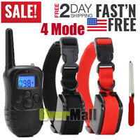 Waterproof 4 Mode Dog Shock Collar Training Bark Remote For Small Large Big Dogs