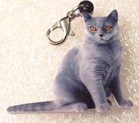Persian Cat Orange Realistic DoubleSided Acrylic Purse Charm Zipper Pull Jewelry