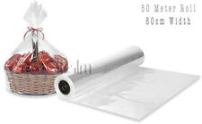 50 Meter Roll Clear Wrapping Gift Paper, Wedding Birthday Hamper Wrap 80CM Width