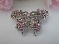 Vintage Pink Floral Rhinestone and Silver Tone Filigree Butterfly Brooch