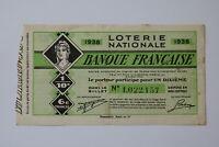 FRANCE LOTERY TICKET 1938 B20 BK161