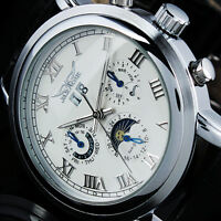 NEW IDOL JARAGAR Moon phase calendar Date Automatic mechanical Leather Men Watch