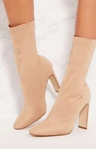 Pretty Little Thing Sand Sock Boots / Size 4 UK 37 EUR / New Rrp.£35