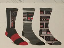 NINTENDO video GAME NES System Men's NEW 3 Pair ATHLETIC CREW SOCKS SIZE 10-13