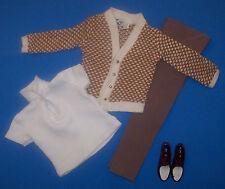 Vintage Ken Doll FRATERNITY MEETING #1408 Slacks Shirt Sweater Cardigan 1964