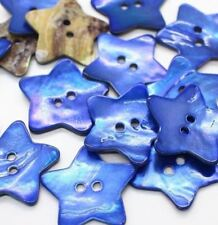 """10pcs 40L 1"""" 25mm NAVY BLUE STAR Real Pearl Shell Button Crafts Sewing Project"""
