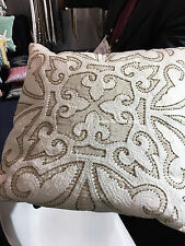 THROW PILLOW  50x50cm Beige/Cream Beaded Embroidered Home decor, Cushion Cover