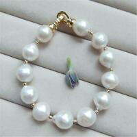 12-13mm White Baroque Pearl Bracelets Diy Gold Clasp 7.5 inches Women cultured