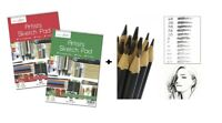 A4 Artist Sketch Drawing Book Pad 40 Sheets 90gsm Sketching + 12 Graded Pencils