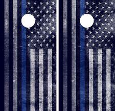 Distressed Blue Line Flag Corn Hole Wrap American Usa High Quality Image!