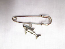 "2"" SAFETY PIN BROOCH FULL BODY OCEAN LIFE SHARK SIDE VIEW CAST USA PEWTER CHARM"