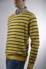 Ralph Lauren Yellow Stripe Lambs Wool V Neck Sweater- Xlarge-