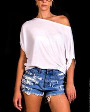 High Waisted Jean Shorts - Shredded - Blue Denim Shorts, High waisted Denim Shor
