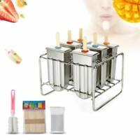 6Pcs Stainless Steel Molds Frozen Ice Cream Pop Popsicle Holder Maker +Sticks