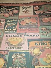 Goodwin Weavers VTG Afghan Throw Blanket Fruits Advertising Signs Country Knit
