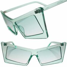 Retro Slanted Rectangle Funky Chic Exotic Cat Eye Green Color Tinted Sunglasses