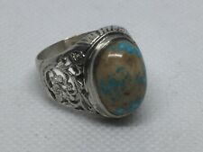 Handmade 925 sterling silver Men ring natural turquoise stone 10.75 USA Size