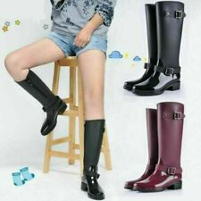 High Top Women Rainshoes Rubber Rain Boots Ladies Waterproof Low Heel Shoes Size