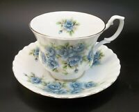 Royal Albert Tea Cup Saucer Set Bone China Blue Roses England