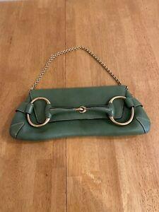 Gucci  Green Calf Skin Horsebit Chain Clutch Bag *Authentic*