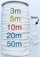 GUMMIBAND Gummikordel 3mm Rund Weiß Elastisch 5 m 10 m 20 m Mundbedeckung Maske