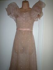 VINTAGE DRESS 30s PINK LONG & BELT ROSE BUD EMBROIDERY & FRILLS PROM PARTY SMALL