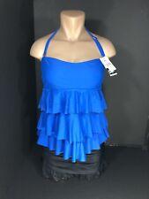 Womens Swimwear Tankini Size 12 Macys Island Escape Blue & Black Two Piece NEW