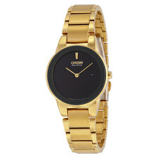 Citizen Axiom Eco-drive Black Dial Gold Stainless Steel Quartz Ladies Watch